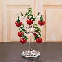 水晶苹果樱桃树创意家居装饰客厅办公桌摆件结婚送女友礼物工艺品