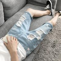 男士牛仔短裤五分裤破洞潮流个性韩版修身中裤夏季薄款5分牛仔裤