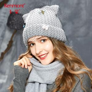 卡蒙卷边网纱猫耳朵粗毛线帽女冬季甜美可爱diy针织帽百搭套头帽 9168