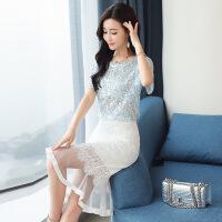 蕾丝连衣裙2018新款显瘦包臀裙小香风套装鱼尾裙两件套女装潮
