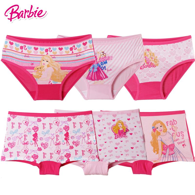 芭比儿童内裤女童公主女生孩短裤宝宝棉三角平角内裤六条装SB91015