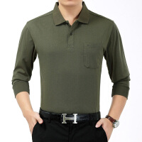 中老年男装秋装纯棉长袖t恤爸爸装新款打底衫中年人上衣男士T恤衫