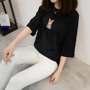 2018春夏装新款条纹中袖T恤女韩版宽松学生百搭简约小心机上衣女
