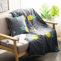 抱枕被子两用靠枕春夏办公室午睡枕头沙发汽车靠垫折叠空调被J 浅灰色 菠萝