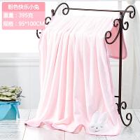 细纤维宝宝浴巾比棉柔软吸水新生儿童盖毯可爱婴儿卡通浴巾J 粉红色 快乐小兔方形被