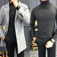 冬季外套呢料风衣男中长款修身毛呢大衣