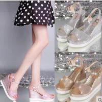 韩版坡跟凉鞋女新款高跟百搭厚底松糕底学生水钻罗马女鞋