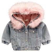 女宝宝冬装棉衣加绒牛仔外套季棉袄服