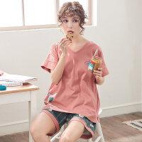 夏季纯棉睡衣女韩版短袖短裤套装学生宽松两件套家居服甜美可外穿