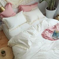 公主水洗棉四件套棉流苏款被套色床单1.5m床上用品 流苏款套件白色 ZW