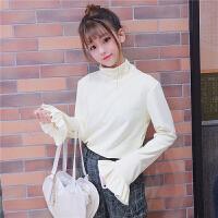 秋冬女装2017新款韩版仿水貂绒高领套头喇叭袖保暖内搭T恤上衣潮