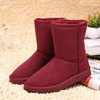 环球雪地靴女冬季2017新款棉鞋加绒保暖短靴韩版学生平底中筒女鞋