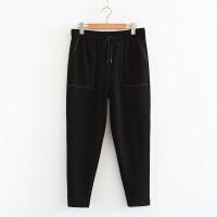 一件 加肥加大码女裤 宽松休闲松紧腰系带运动裤250斤FZ
