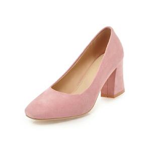ELEISE美国艾蕾莎新品152-817韩版磨砂绒面高跟粗跟女士单鞋