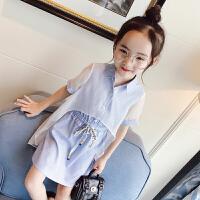 女童连衣裙夏装裙子儿童短袖假两件连衣裙母女装