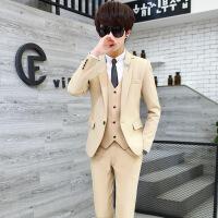青少年西服套装男修身韩版潮流休闲小西服三件套男士帅气纯色西装