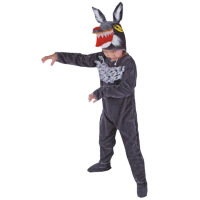 灰色儿童演出服女 春秋季表演装灰色冬跳舞蹈衣 大灰狼动物造型服套装男