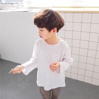 男童长袖T恤2018春秋新款韩版儿童打底衫白色纯棉春装圆领薄款