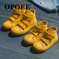 糖果色�和�帆布鞋男童女童鞋����高�桶逍��n版魔�g�N