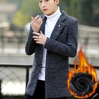 男士加绒外套冬季2017新款潮流韩版衣服中长款男装夹克冬装毛呢子风衣