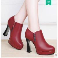 莱卡金顿新款圆头马蹄跟女鞋韩版百搭高跟时装女鞋休闲网红女单鞋6420