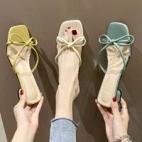 时尚蝴蝶结粗跟女士拖鞋 新款chin凉拖鞋女外穿 韩版百搭网红风一字拖潮