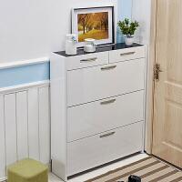 翻斗鞋柜17cm门厅柜大容量简易组装客厅鞋柜简约现代烤漆鞋柜 组装
