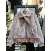 R1冬装新品显瘦短款仿貂绒保暖棉衣加厚麂皮绒外套女机车皮衣0.95