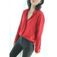 欧美纯色素绸缎面重磅衬衫女长袖宽松秋冬新款打底上衣