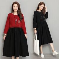 实拍秋装新款韩版大码女装拼接长袖棉麻连衣裙中长款裙子