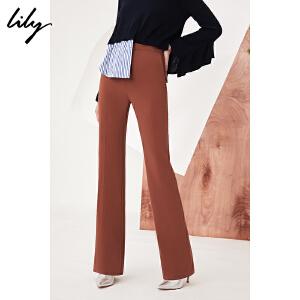 【每满200减100】Lily2018秋新款女装帅气纯色修身显瘦微喇裤通勤裤118120C5602