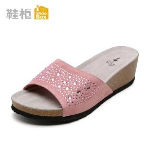 达芙妮集团 鞋柜罗马厚底坡跟一字拖鞋 夏季性感水钻女凉拖