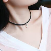 韩国版简约颈带人造珍珠项链女短款锁骨链黑色脖子颈链原宿项圈饰 银白色