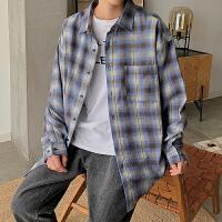 男新款格子衬衫宽松潮牌学生长袖休闲衬衣青少年男装外套寸衫