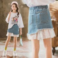 女童半身裙夏装儿童牛仔纱裙子女孩牛仔短裙