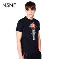 NSNF手绘摩托车纯棉黑色修身短袖男款T恤 短袖t恤男装2017新款 修身圆领针织短袖