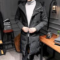 冬季新款男士中长款修身羽绒服青年韩版大衣加厚连帽毛领外套 黑色.