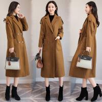 毛呢外套女中长款2017秋冬季新款呢大衣修身版系带呢子外套女
