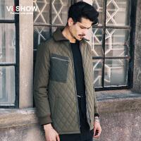 VIISHOW冬装新款棉衣外套 欧美时尚格菱棉服男 翻领军绿外套 M147754