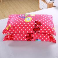 冬季法兰绒珊瑚绒枕套儿童法莱绒枕头套48 74cm单人 一对拍2D 粉红色 粉红提提猫 48cmX74cm