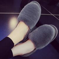 棉拖鞋女厚底冬季室内外防滑居家居加绒保暖月子豆豆棉鞋包跟毛拖 36 【偏小一码】