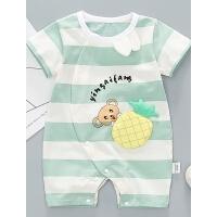 婴儿衣服夏装男女宝宝短袖薄款条纹菠萝哈衣夏季连体衣外出服哈衣