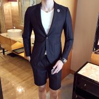 新款春夏韩版修身独特设计男士走秀西装短裤反光雪花西服套装