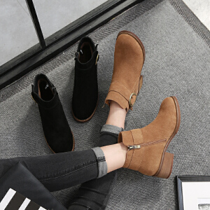 毅雅2017冬季方跟平底短靴欧美低跟磨砂马丁靴皮带圆扣拉链英伦裸靴女