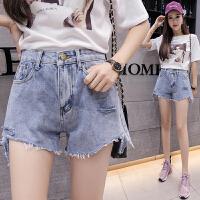 破洞牛仔短裤女夏装2018新款高腰韩版学生显瘦毛边热裤