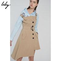 【此商品参加2件2折,预估到手139.8元】Lily春新款女装卡其色不规则撞色纽扣背带裙118130C7640