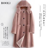 芭欧2019新款反季羊剪绒大衣女士长款宽松羊羔毛时尚连帽皮草外套