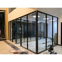 办公室玻璃隔断 铝合金屏风隔墙无框单双玻隔音钢化玻璃 高隔间