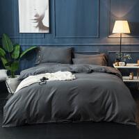 家纺秋冬季纯色加厚全棉磨毛四件套保暖被套素色长绒棉裸睡床上用品