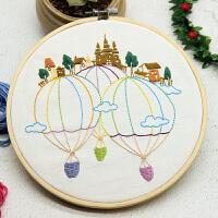 手工布艺DIY刺绣材料装饰画风景卡通气球城堡小幅简单